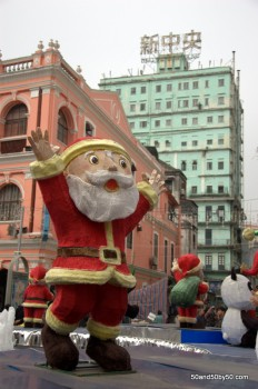 Santa in the Largo de Senado ('Square of the Senate') in Macau