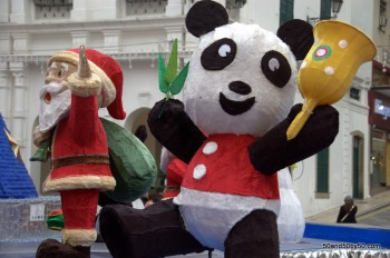 Santa's about to get attacked by a giant panda!