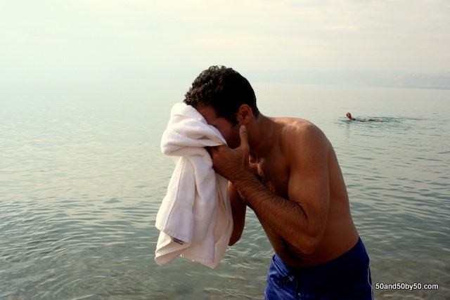 I don't recommend jumping into the Dead Sea. It reeeeeeeally hurts your eyes.