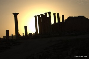 Sunset behind Roman columns in Gerasa