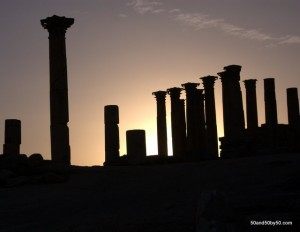 Silhouette photo of the Temple of Artemis in Gerasa