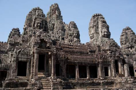 wide shot of the Bayon temples in Angkor Thom, Siem Reap, Cambodia