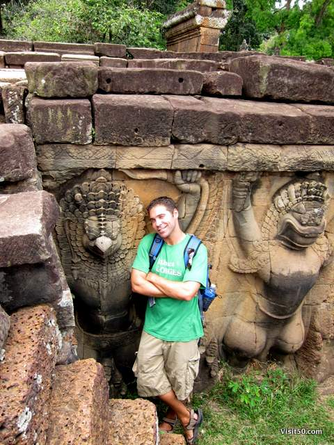 nearly every wall of the Bayon temples weresculpted. Angkor Thom, Siem Reap, Cambodia