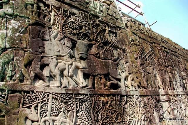 walls of Angkor Thom in Cambodia